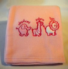 Pink embroidered Fleece Wrap/Blanket
